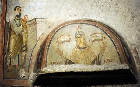 SIXTH CENTURY FRESCO OF SAINT PAUL DISCOVERED IN ROMAN CATACOMB