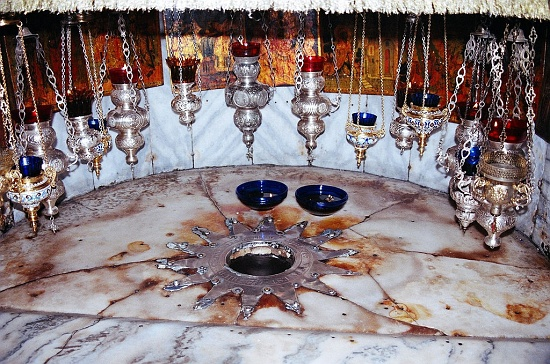 Star marking the traditional site on which Jesus was born in the Grotto of the Nativity