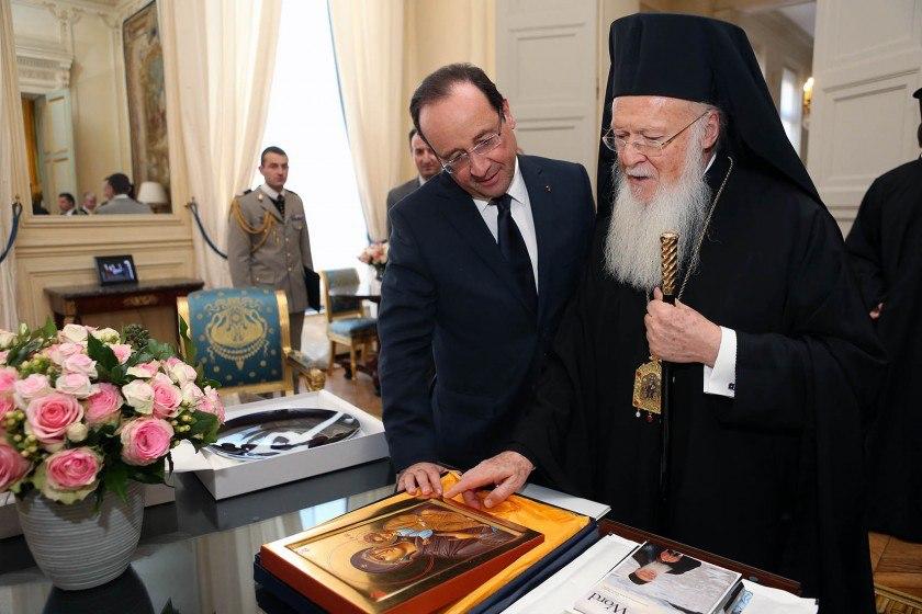 French President Francois Hollande meets Ecumenical Patriarch Bartholomew