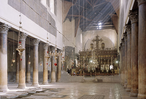 Interior of the Church of the Nativity, looking east towards the altar and the entrance to the Grotto.