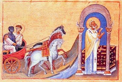 Philip and the Ethiopian Eunuch from the Menologion of Basil II, an 11th-century illuminated manuscript