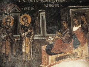Sts. Kosmas and Damian healing Palladia, who offered to them three eggs in thanks.