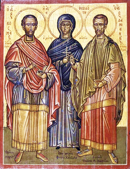 Sts. Cosmas and Damian the Unmercenaries of Asia Minor, with their mother, St. Theodote. Icon by Photis Kontoglou
