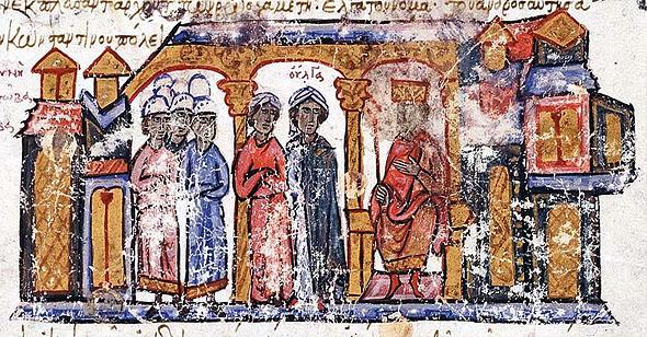 Saint Olga received by Emperor Constantine VII, byzantine manuscript, 12th century