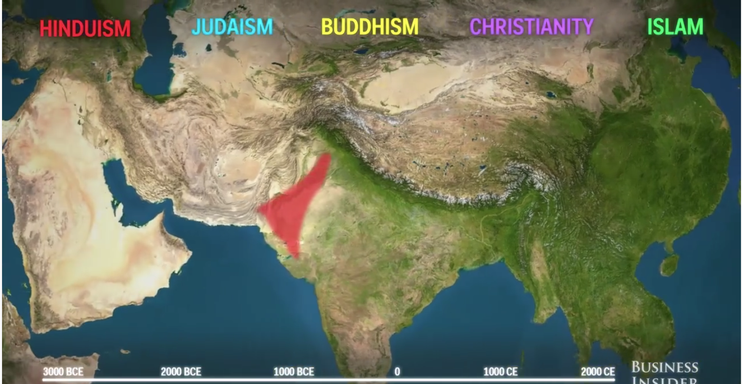 Animated map shows how religions spread across the world