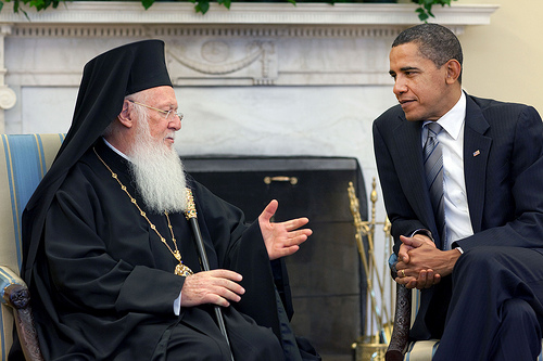 President Barack Obama meets with His All Holiness Ecumenical Patriarch Bartholomew in the Oval Office, Nov. 3, 2009. (Official White House Photo by Pete Souza)